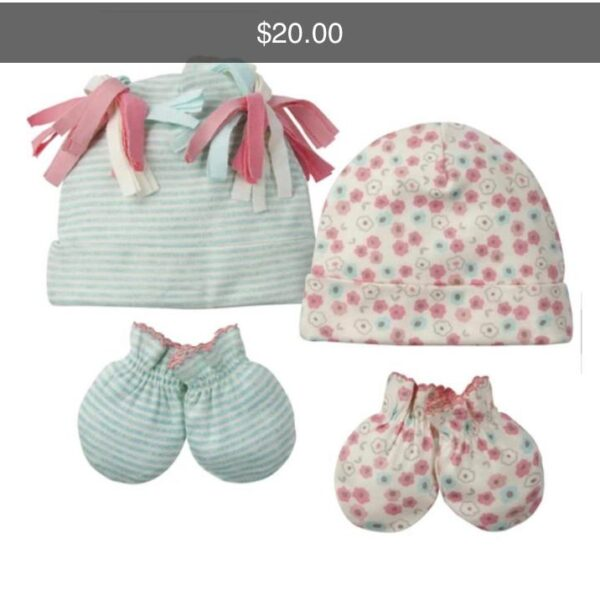 Cayman Ecommerce - 4 Piece Baby Girl Floral Cap & Mitten Set